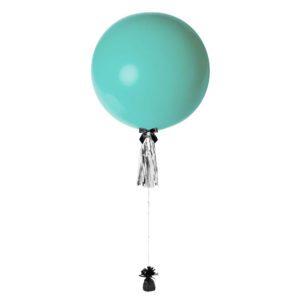 36 inch jumbo helium balloon turquoise with tassel