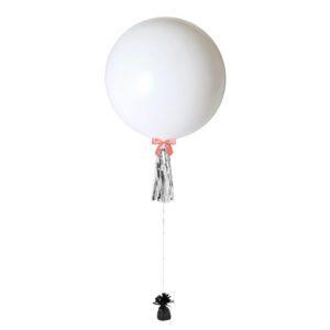 36 inch jumbo helium balloon white with tassel
