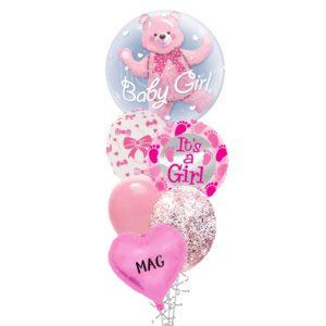 Baby Girl Bear Balloon Bouquet