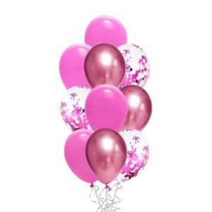 Confetti Chrome Mauve Pink balloon bouquet