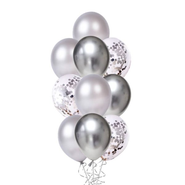 Confetti Chrome Silver balloon bouquet