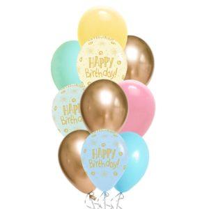 HBD Light Pastel Matte balloon bouquet