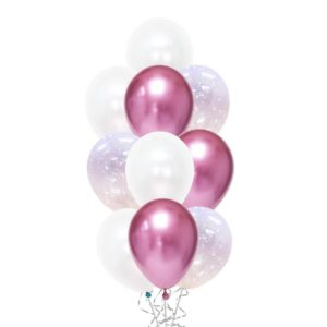 Iridescent White Confetti Chrome balloon bouquet