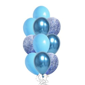 Messy Confetti Chrome Blue balloon bouquet