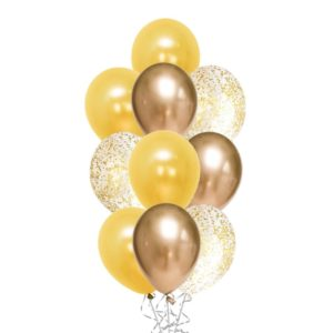 Messy Confetti Chrome Gold balloon bouquet