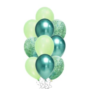 Messy Confetti Chrome Green balloon bouquet