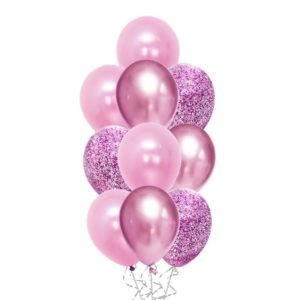 Messy Confetti Chrome Pink balloon bouquet