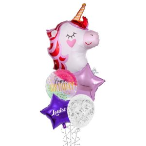 Pretty in pink unicorn birthday balloon bouquet