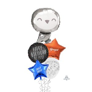 Silver Owl balloon bouquet
