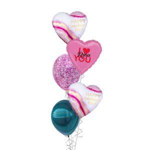 Happy valentines water colour geode balloon bouquet