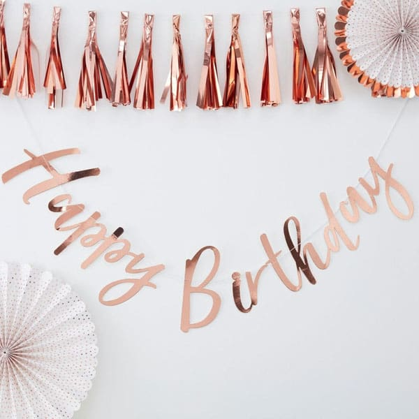 Birthday Rose Gold Script Paper Bunting